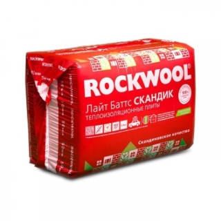 Минеральная вата 800х600х50 мм 5,76 м2 упаковка из 12 плит Роквул Лайт Баттс Скандик